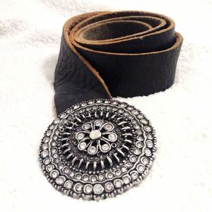 Fossil Genuine Leather Blinged Flower Buckle Belt